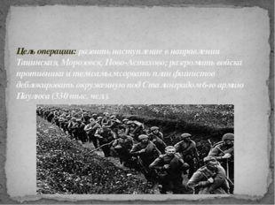 Цель операции: развить наступление в направлении Тацинская, Морозовск, Ново-А