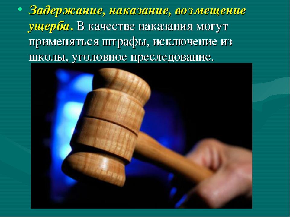 Задержание, наказание, возмещение ущерба. В качестве наказания могут применят...