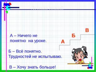Лесенка знаний А Б В А – Ничего не понятно на уроке. Б – Всё понятно. Трудно