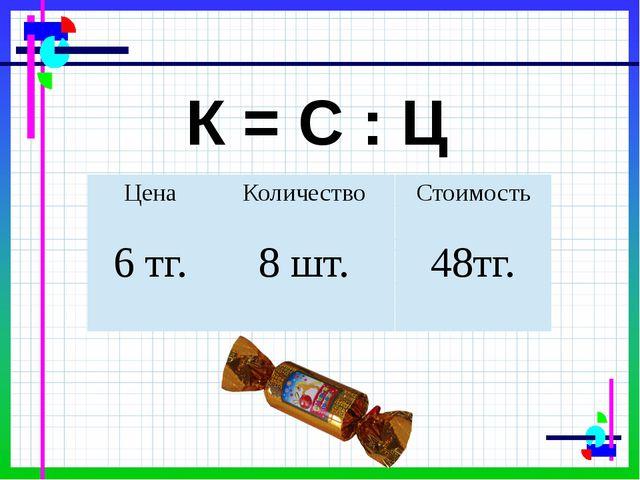 К = С : Ц Цена Количество Стоимость 48тг. 8 шт. 6тг.