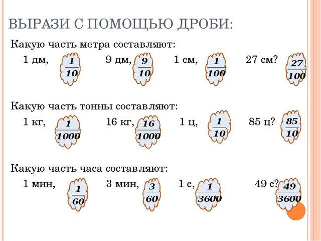 ВЫРАЗИ С ПОМОЩЬЮ ДРОБИ: Какую часть метра составляют: 1 дм, 9 дм, 1 см, 27 см...