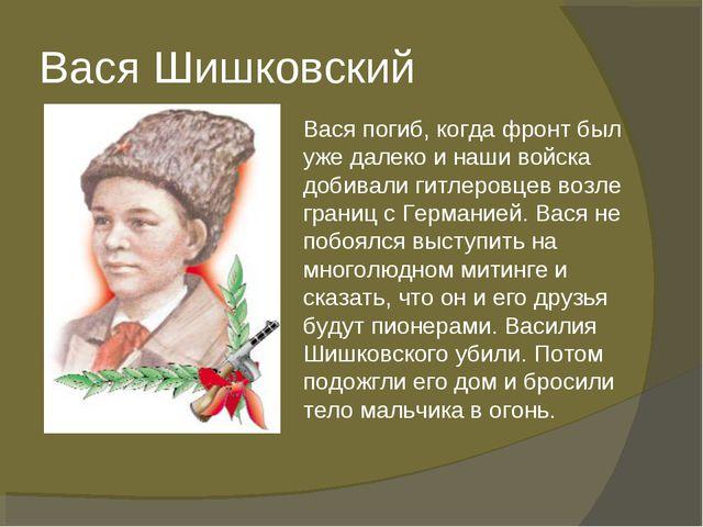 Вася Шишковский Вася погиб, когда фронт был уже далеко и наши войска добивали...