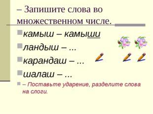 – Запишите слова во множественном числе. камыш – камыши ландыш – ... карандаш
