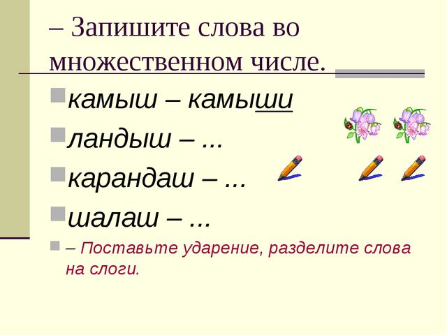 – Запишите слова во множественном числе. камыш – камыши ландыш – ... карандаш...