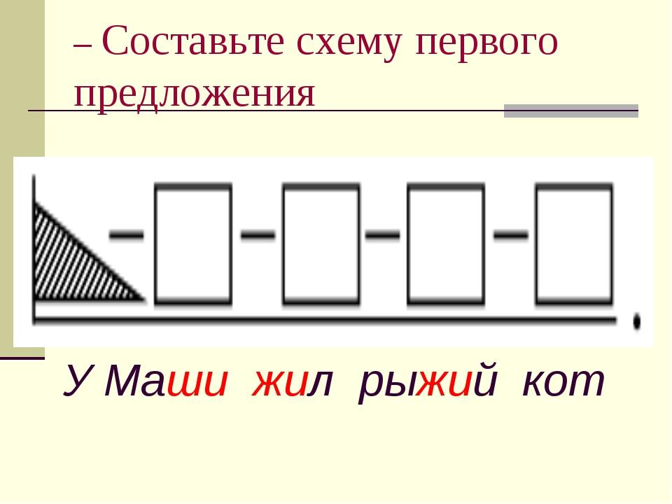 – Составьте схему первого предложения У Маши жил рыжий кот