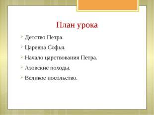 План урока Детство Петра. Царевна Софья. Начало царствования Петра. Азовские