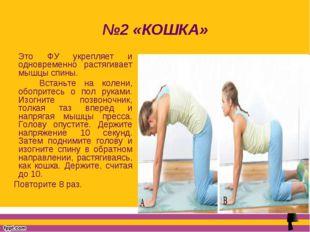 №2 «КОШКА» Это ФУ укрепляет и одновременно растягивает мышцы спины. Встаньте