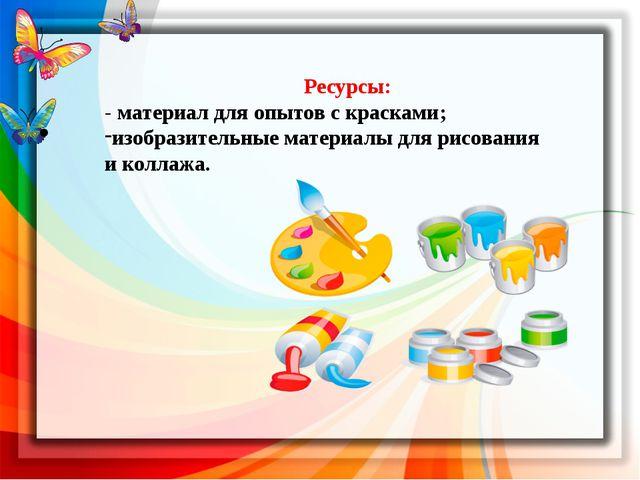 Ресурсы: - материал для опытов с красками; изобразительные материалы для рис...