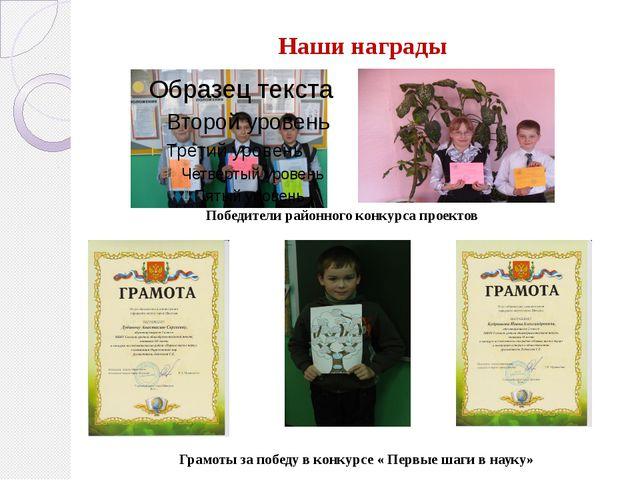 Наши награды Победители районного конкурса проектов Грамоты за победу в конку...