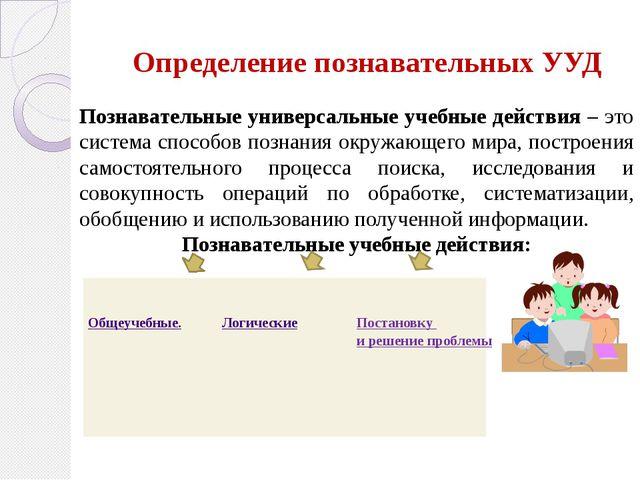 Определение познавательных УУД Познавательные универсальные учебные действия...