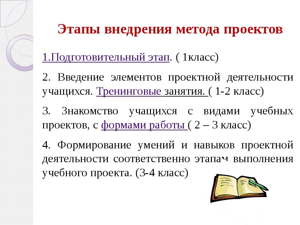 Этапы внедрения метода проектов 1.Подготовительный этап. ( 1класс) 2. Введени...
