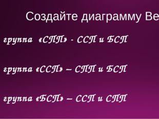 Создайте диаграмму Венна 1 группа «СПП» - ССП и БСП 2 группа «ССП» – СПП и БС