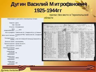 Дугин Василий Митрофанович 1925-1944гг пропал без вести в Тернопольской облас