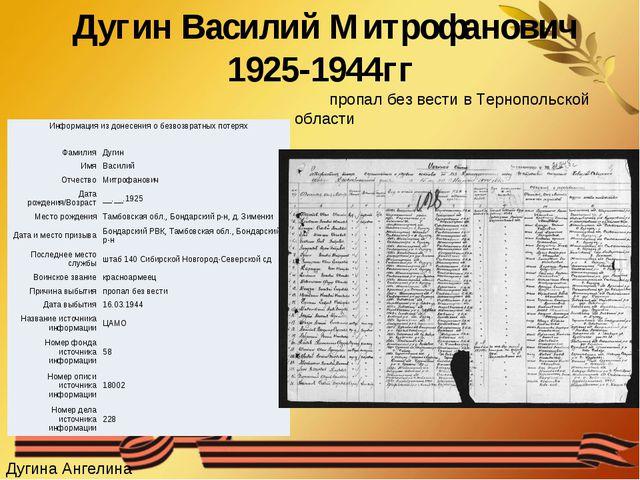 Дугин Василий Митрофанович 1925-1944гг пропал без вести в Тернопольской облас...