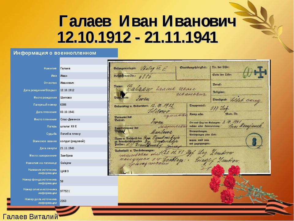 Галаев Иван Иванович 12.10.1912 - 21.11.1941 Галаев Виталий Информация о воен...
