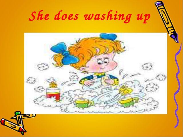 She does washing up