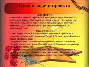 Цель проекта: сохранить в памяти современной молодежи имена земляков – участн