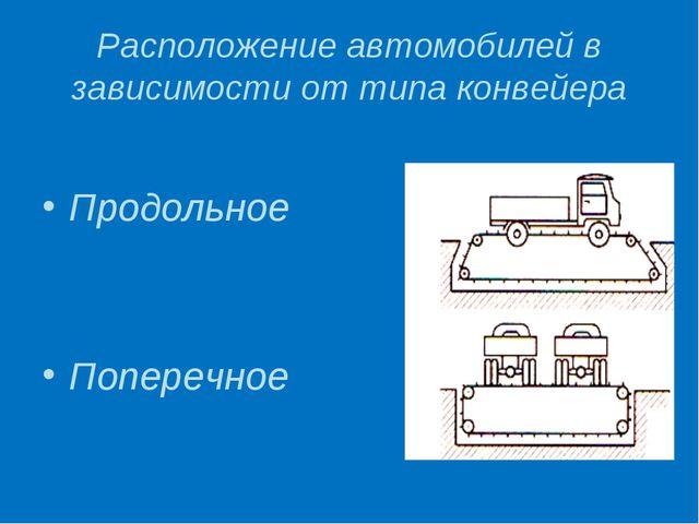 Расположение автомобилей в зависимости от типа конвейера Продольное Поперечное