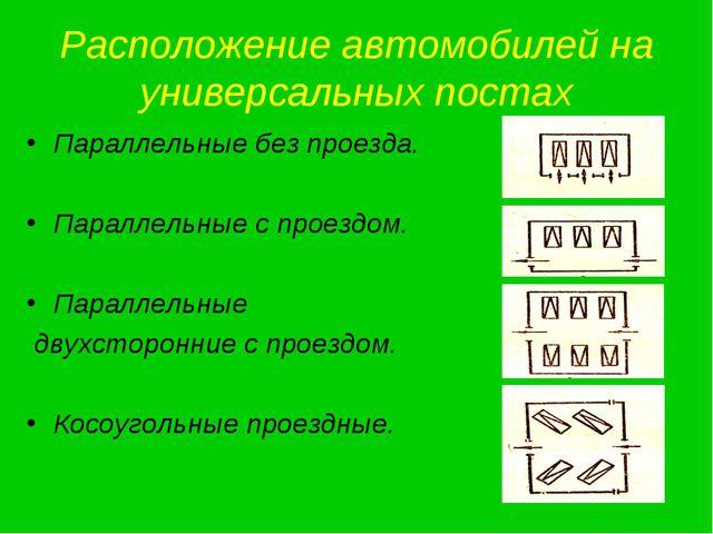 Расположение автомобилей на универсальных постах Параллельные без проезда. Па...