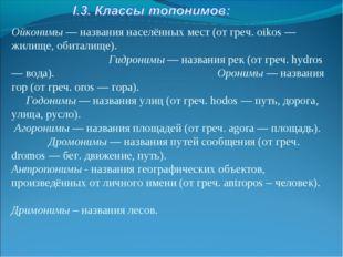 Ойконимы — названия населённых мест (от греч. oikos — жилище, обиталище). Гид