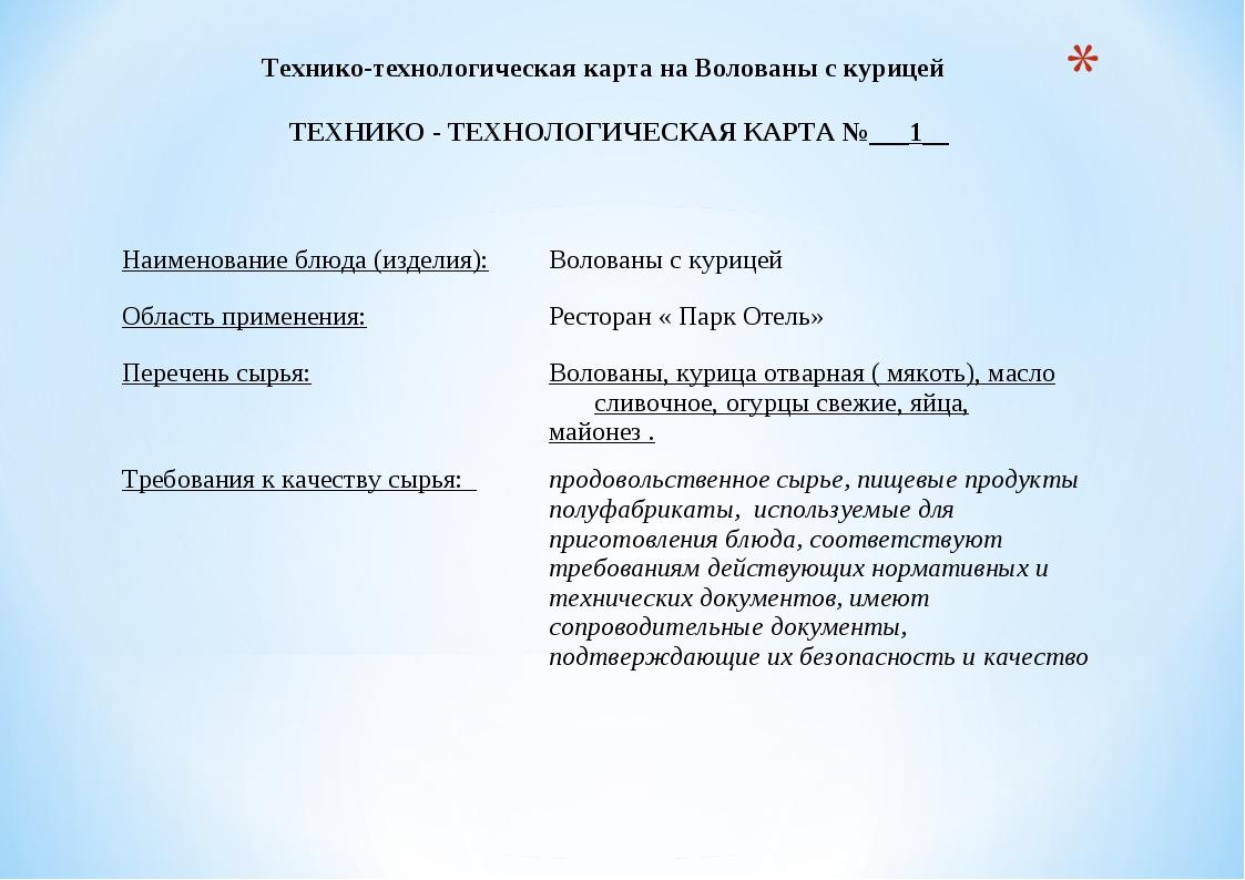 Технико-технологическая карта на Волованы с курицей ТЕХНИКО - ТЕХНОЛОГИЧЕСКА...