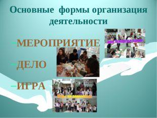 Основные формы организация деятельности МЕРОПРИЯТИЕ ДЕЛО ИГРА