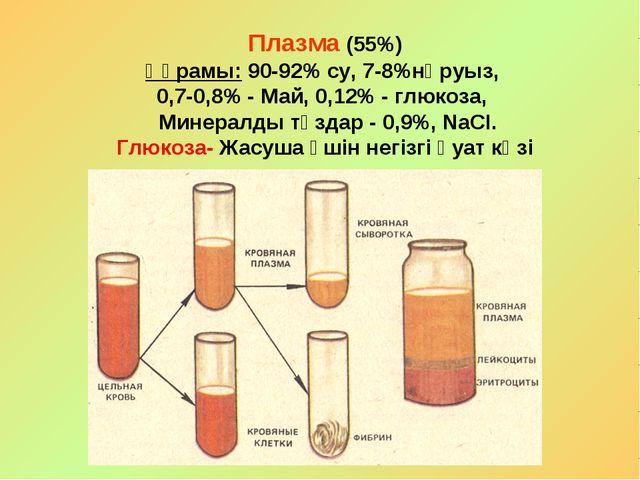Плазма (55%) Құрамы: 90-92% су, 7-8%нәруыз, 0,7-0,8% - Май, 0,12% - глюкоза,...