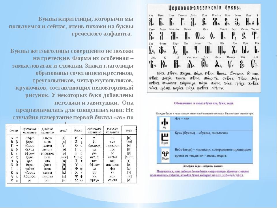 Буквы кириллицы, которыми мы пользуемся и сейчас, очень похожи на буквы грече...