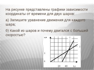 На рисунке представлены графики зависимости координаты от времени для двух ша