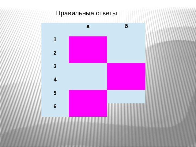 Правильные ответы а б 1 2 3 4 5 6