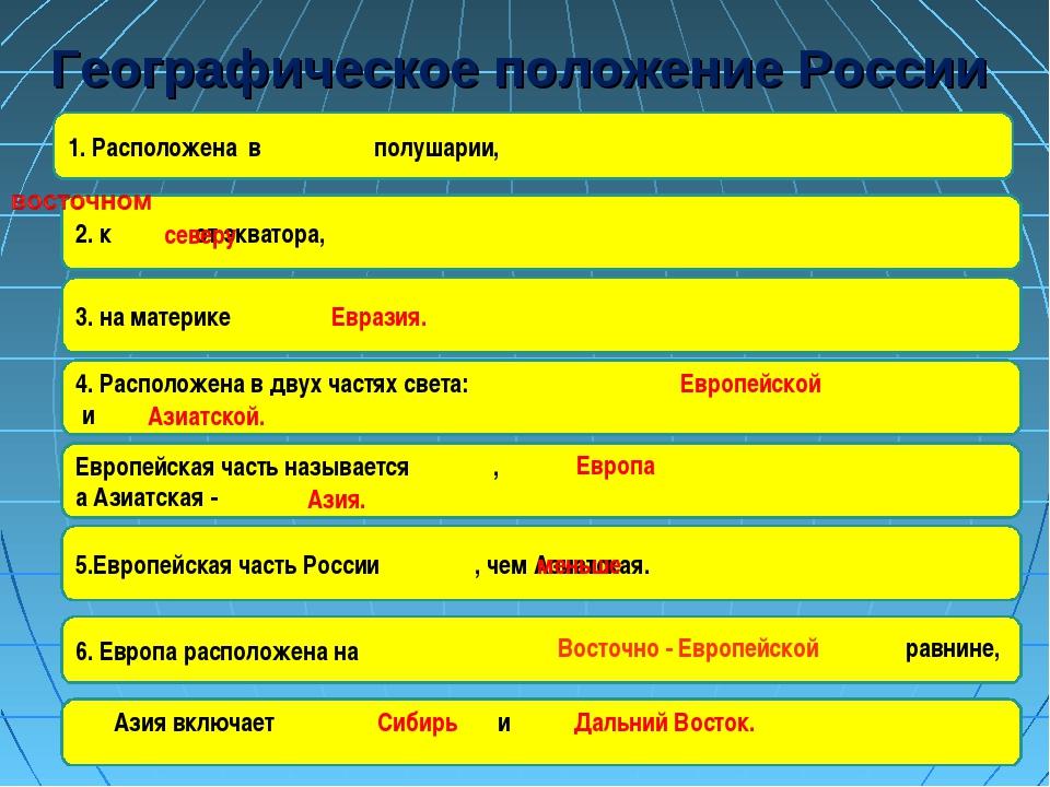 Географическое положение России 1. Расположена в полушарии, 2. к от экватора,...