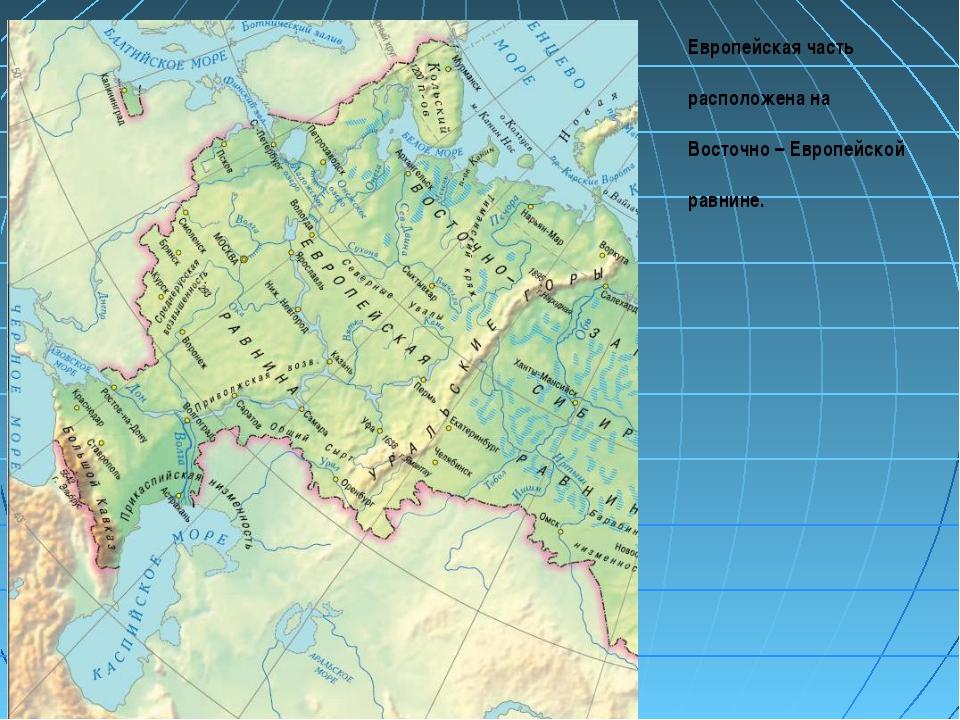 Европейская часть расположена на Восточно – Европейской равнине.
