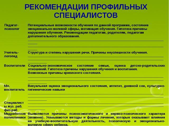 РЕКОМЕНДАЦИИ ПРОФИЛЬНЫХ СПЕЦИАЛИСТОВ Педагог-психолог Потенциальные возможнос...