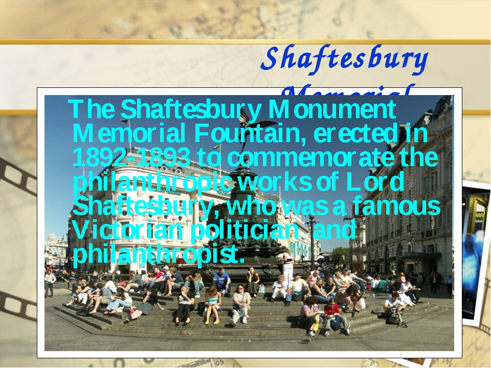 Shaftesbury Memorial The Shaftesbury Monument Memorial Fountain, erected in 1...
