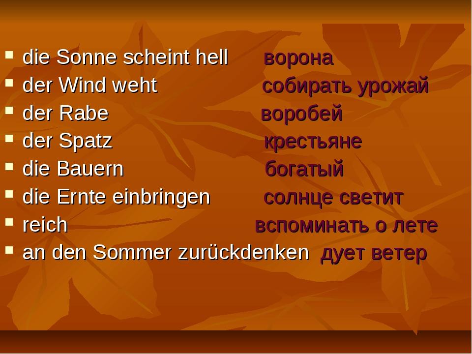 die Sonne scheint hell ворона der Wind weht собирать урожай der Rabe воробей...