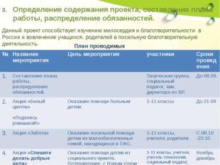 3. Определение содержания проекта, составление плана работы, распределение об