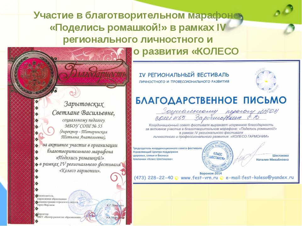 Участие в благотворительном марафоне: «Поделись ромашкой!» в рамках IV регион...