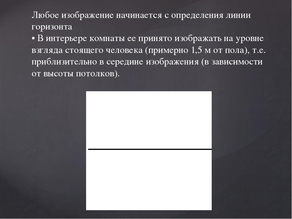 Любое изображение начинается с определения линии горизонта • В интерьере комн...