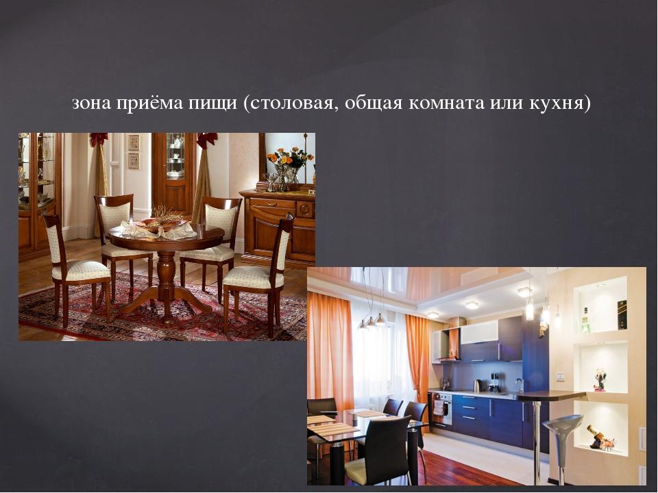 зона приёма пищи (столовая, общая комната или кухня)