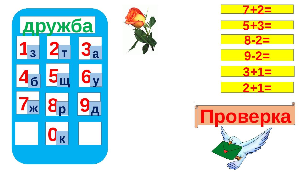 дружба 1 4 7 5 8 0 9 6 2 3 з к т а б щ у ж р д 7+2= Проверка 5+3= 8-2= 9-2=...