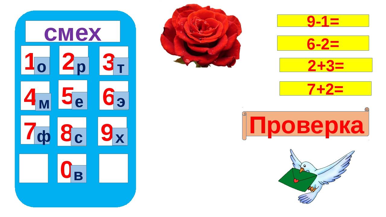 смех 1 4 7 5 8 0 9 6 2 3 о в р т м е э ф с х Проверка 9-1= 6-2= 2+3= 7+2=