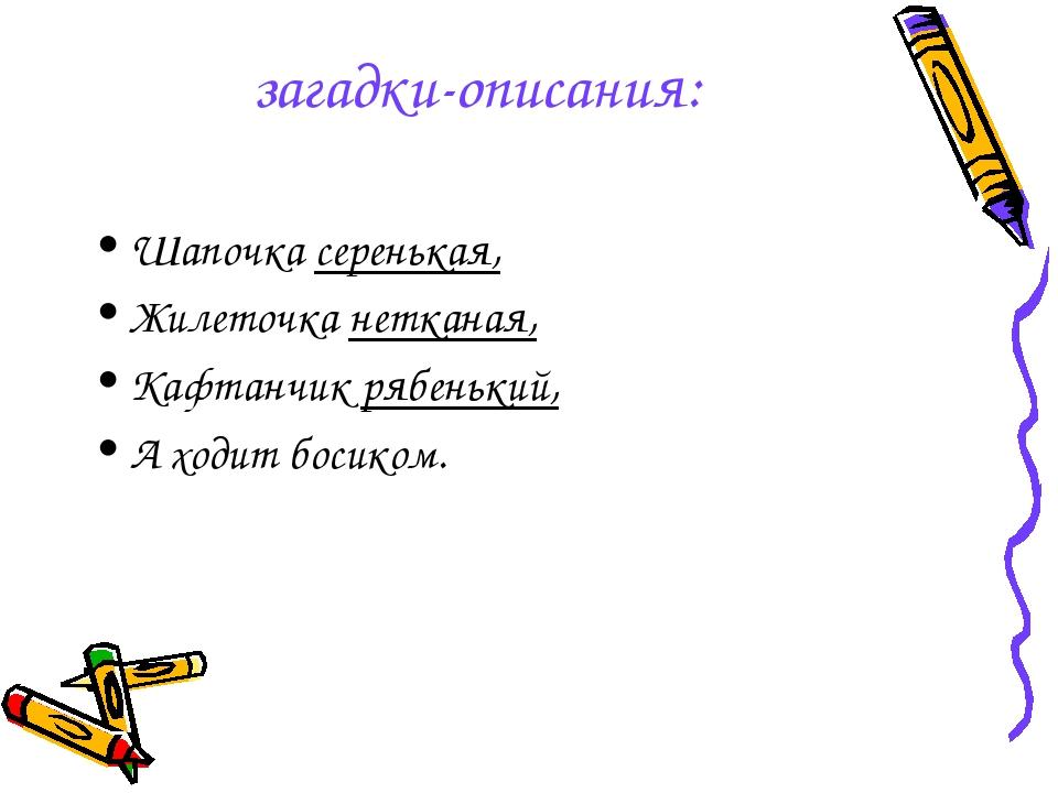 загадки-описания: Шапочка серенькая, Жилеточка нетканая, Кафтанчик рябенький,...