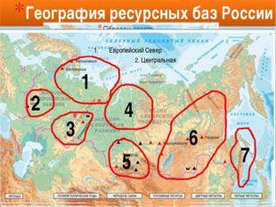 География ресурсных баз России 2 1 3 4 5 6 7 Европейский Север 2. Центральная