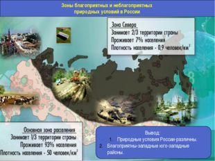 Зоны благоприятных и неблагоприятных природных условий в России Вывод: Природ