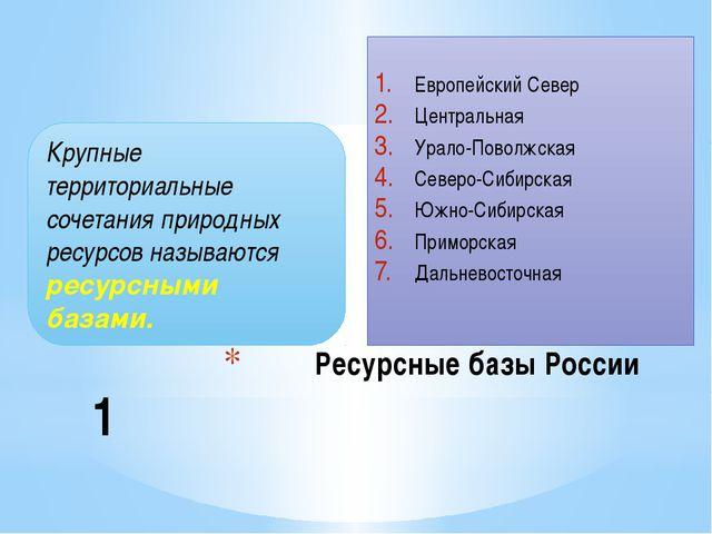 Ресурсные базы России Европейский Север Центральная Урало-Поволжская Северо-С...