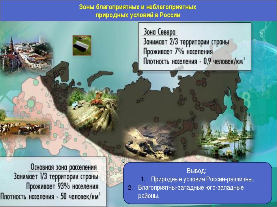 Зоны благоприятных и неблагоприятных природных условий в России Вывод: Природ...