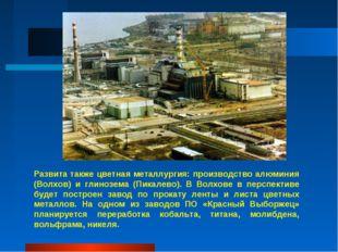 Развита также цветная металлургия: производство алюминия (Волхов) и глинозема