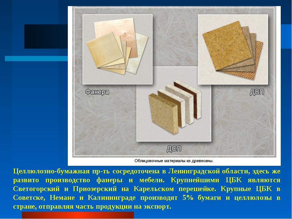 Целлюлозно-бумажная пр-ть сосредоточена в Ленинградской области, здесь же раз...