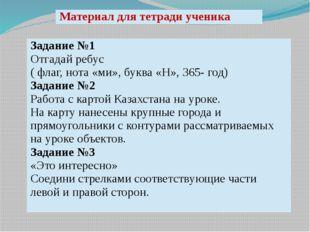 Материал для тетради ученика Задание №1 Отгадай ребус ( флаг, нота «ми», букв