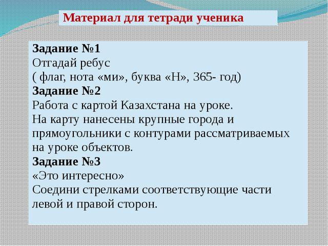 Материал для тетради ученика Задание №1 Отгадай ребус ( флаг, нота «ми», букв...